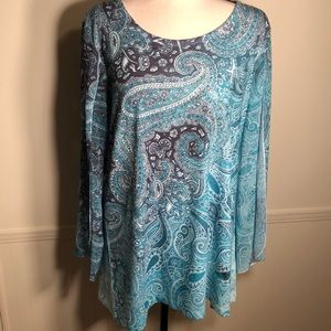 JM Collection Teal and Gray Top